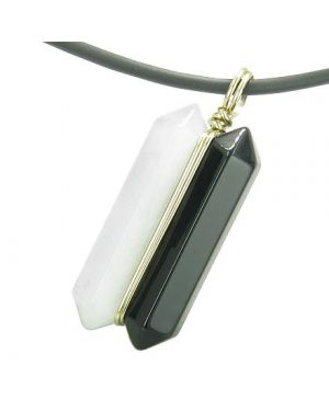 12K Gold Individual Ying Yang Amulet Double Wand Crystal Point Onyx Jade Gemstones Pendant Necklace