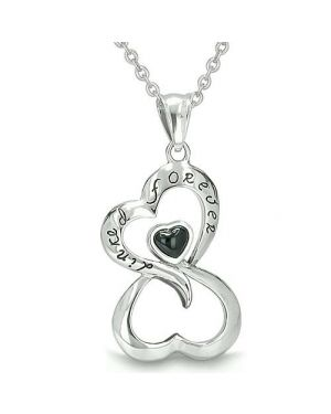 Infinity United Hearts Linked Forever Amulet Eternity Powers Onyx Positive Charm Pendant Necklace