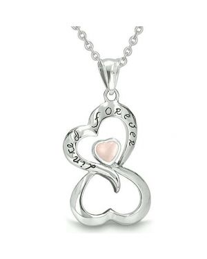 Infinity United Hearts Linked Forever Amulet Eternity Powers Light Pink Cats Eye Pendant Necklace