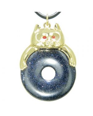 Fortune Cat Lucky Donut Good Luck Talisman Blue Gold Stone Pendant Necklace