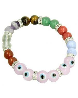 Chakra Gemstones and Evil Eye Swarovski Crystals Pink Eyes Bracelet