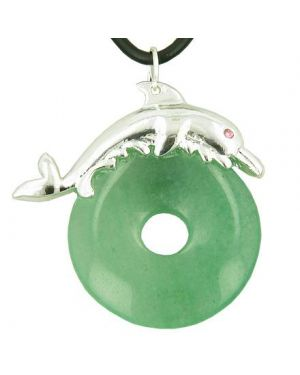 Dolphin Lucky Gemstone Donut Money Talisman Aventurine Pendant Necklace