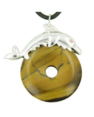 Dolphin Lucky Gemstone Donut Protection Talisman Tiger Eye Pendant Necklace