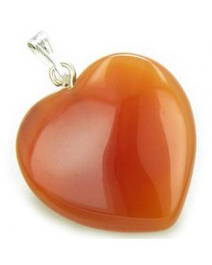 A Lucky Puffy Carnelian Gemstone Heart Evil Eye Protection Talisman Pendant