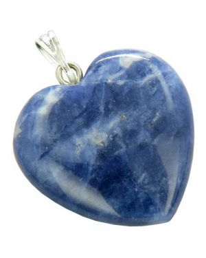 A Lucky Puffy Sodalite Gemstone Heart Good Luck Talisman Pendant