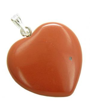 A Lucky Puffy Red Jasper Gemstone Heart Believe Power Talisman Pendant