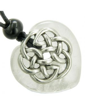 Amulet Celtic Shield Knot Puffy Heart Crystal Quartz Gemstone Pendant Necklace