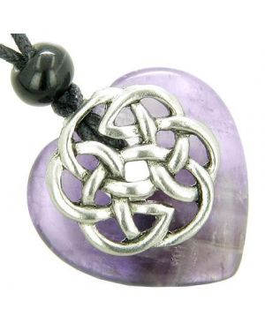 Amulet Celtic Shield Knot Puffy Heart Amethyst Gemstone Pendant Necklace
