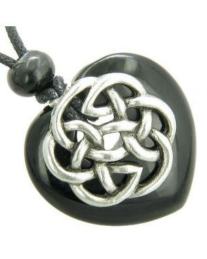 Amulet Celtic Shield Knot Puffy Heart Black Onyx Gemstone Pendant Necklace