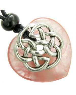 Amulet Celtic Shield Knot Puffy Heart Cherry Quartz Gemstone Pendant Necklace