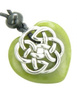 Amulet Celtic Shield Knot Puffy Heart Green Jade Gemstone Pendant Necklace