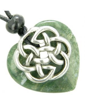 Amulet Celtic Shield Knot Puffy Heart Green Moss Agate Gemstone Pendant Necklace