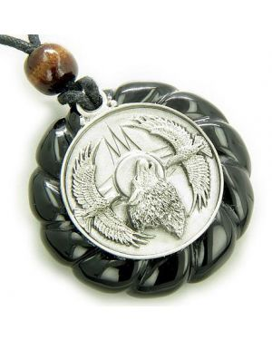 Amulet Howling Wolf Eagles Magic Circle Black Onyx Pendant Necklace