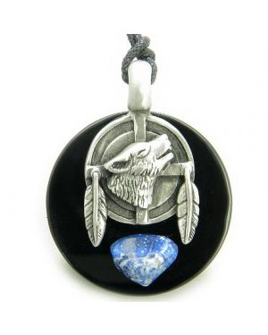 Amulet Wolf Feathers Circle Black Onyx and Lapiz Lazuli Gemstone Necklace
