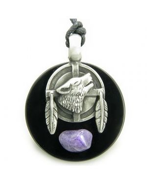 Amulet Wolf Feathers Circle Black Onyx and Amethyst Crystal Necklace