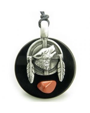 Amulet Wolf Feathers Circle Black Onyx and Red Jasper Gemstone Necklace