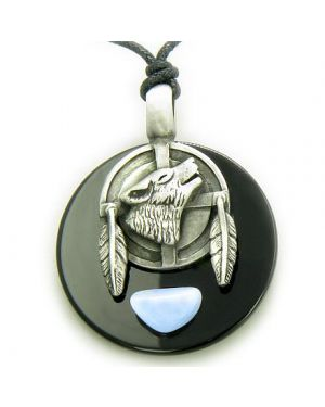 Amulet Wolf Feathers Circle Black Onyx and Blue Lace Agate Necklace