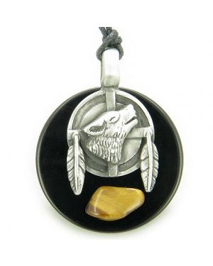 Amulet Wolf Feathers Circle Black Onyx and Tiger Eye Gemstone Necklace
