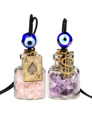 Ace Magic Dollar Symbol Powers Small Car Charms Home Decor Gem Bottles Amethyst Rose Quartz Amulets