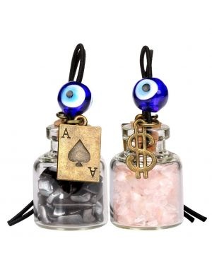 Ace Magic Dollar Symbol Powers Small Car Charms Home Decor Gem Bottles Hematite Rose Quartz Amulets