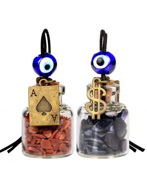 Ace Magic Dollar Symbol Powers Small Car Charms or Home Decor Bottles Red Blue Goldstone Amulets