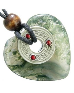 Celtic Triquetra Knot Protection Amulet Green Moss Agate Heart Pendant Necklace