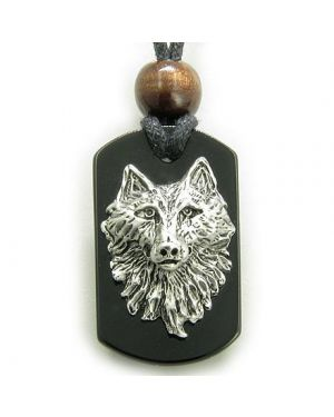 Black Onyx Wise Wolf Head Spiritual Protection Magic Amulet Pendant Necklace