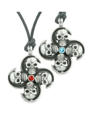 Supernatural Skull Amulet Powers Love Couples or Best Friends Blue Red Crystals Necklaces