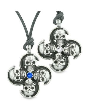 Supernatural Skull Amulet Powers Love Couples Best Friends Royal Blue White Crystal Necklaces
