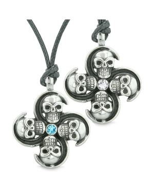 Supernatural Skull Amulet Powers Love Couples Best Friends Sky Blue White Crystals Necklaces