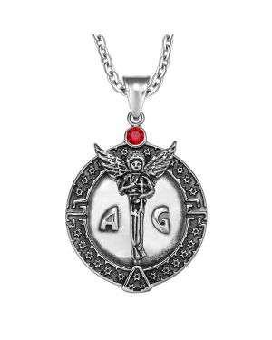 Guardian Archangel Michael Medallion Star of David Accents Amulet Red Crystal Pendant 22 Inch Necklace