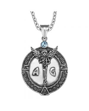 Guardian Archangel Michael Medallion Star of David Accents Amulet Blue Crystal Pendant 18 Inch Necklace