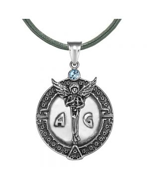 Guardian Archangel Michael Medallion Star of David Accents Amulet Blue Crystal Pendant Leather Necklace