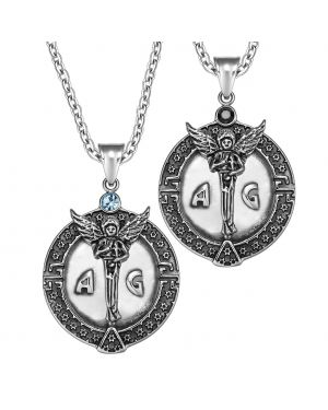Archangel Michael Star of David Accents Love Copules or Best Friends Amulets Set Black Sky Blue Necklaces