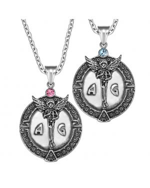 Archangel Michael Star of David Accents Love Copules or Best Friends Amulets Set Sky Blue Pink Necklaces
