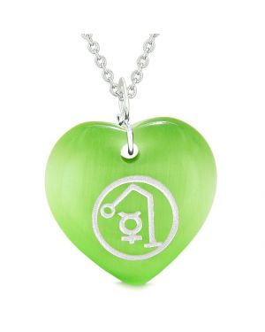 Archangel Raphael Sigil Magic Planet Energy Amulet Puffy Heart Green Simulated Cats Eye 18 inch Necklace