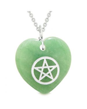 Amulet Magical Pentacle Protection Powers Puffy Heart Energy Green Quartz Pendant 22 inch Necklace