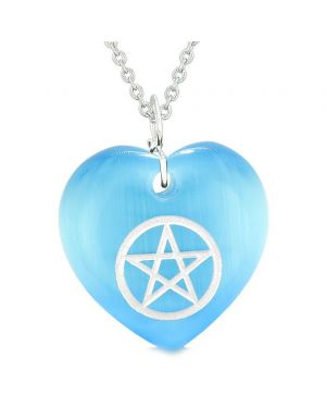 Amulet Magical Pentacle Protection Powers Puffy Heart Energy Sky Blue Simulated Cats Eye Necklace