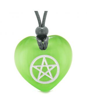 Amulet Magical Pentacle Protection Puffy Heart Energy Green Simulated Cats Eye Pendant Necklace