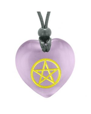 Amulet Magical Pentacle Energy ProtectiPuffy Heart Purple Simulated Cats Eye Pendant Necklace