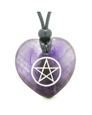 Amulet Magical Pentacle Protection Powers Puffy Heart Energy Purple Quartz Pendant Necklace