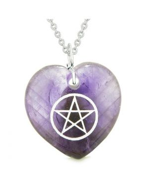 Amulet Magical Pentacle Protection Powers Puffy Heart Energy Purple Quartz Pendant 18 inch Necklace