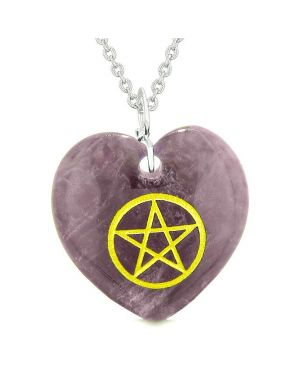 Amulet Magical Pentacle Energy Protection Powers Puffy Heart Purple Quartz Pendant 22 inch Necklace