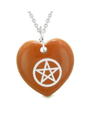 Amulet Magical Pentacle Protection Powers Puffy Heart Energy Red Jasper Pendant 18 inch Necklace