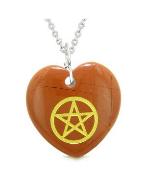 Amulet Magical Pentacle Energy Protection Powers Puffy Heart Red Jasper Pendant 22 inch Necklace