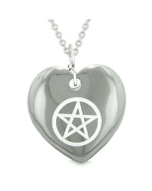 Amulet Magical Pentacle Protection Powers Puffy Heart Energy Hematite Pendant 18 inch Necklace