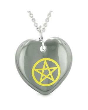 Amulet Magical Pentacle Energy Protection Powers Puffy Heart Hematite Pendant 18 inch Necklace