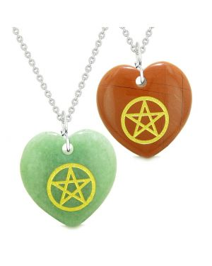 Amulets Magical Pentacle Energy Love Couples or Best Friends Set Green Quartz Red Jasper Necklaces