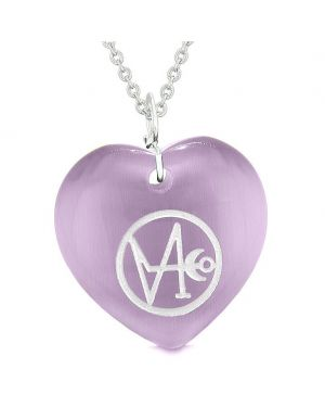 Archangel Gabriel Sigil Magic Planet Energy Amulet Puffy Heart Necklace
