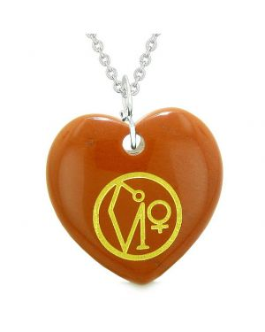 Archangel Uriel Sigil Magic Amulet Planet Energy Puffy Heart Pendant Necklace